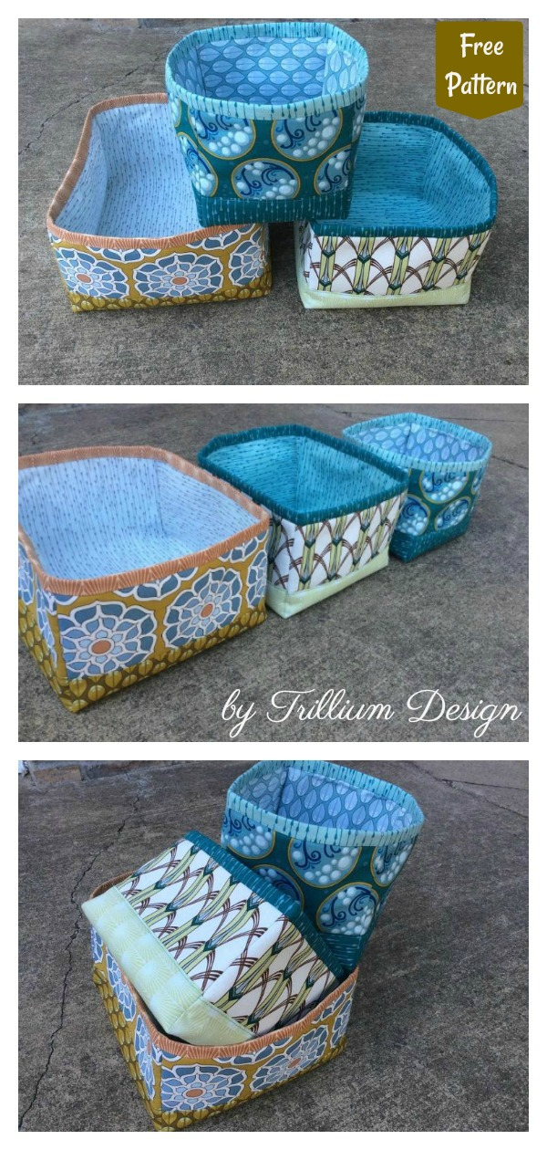 Itty Bitty Nested Baskets Free Sewing Pattern