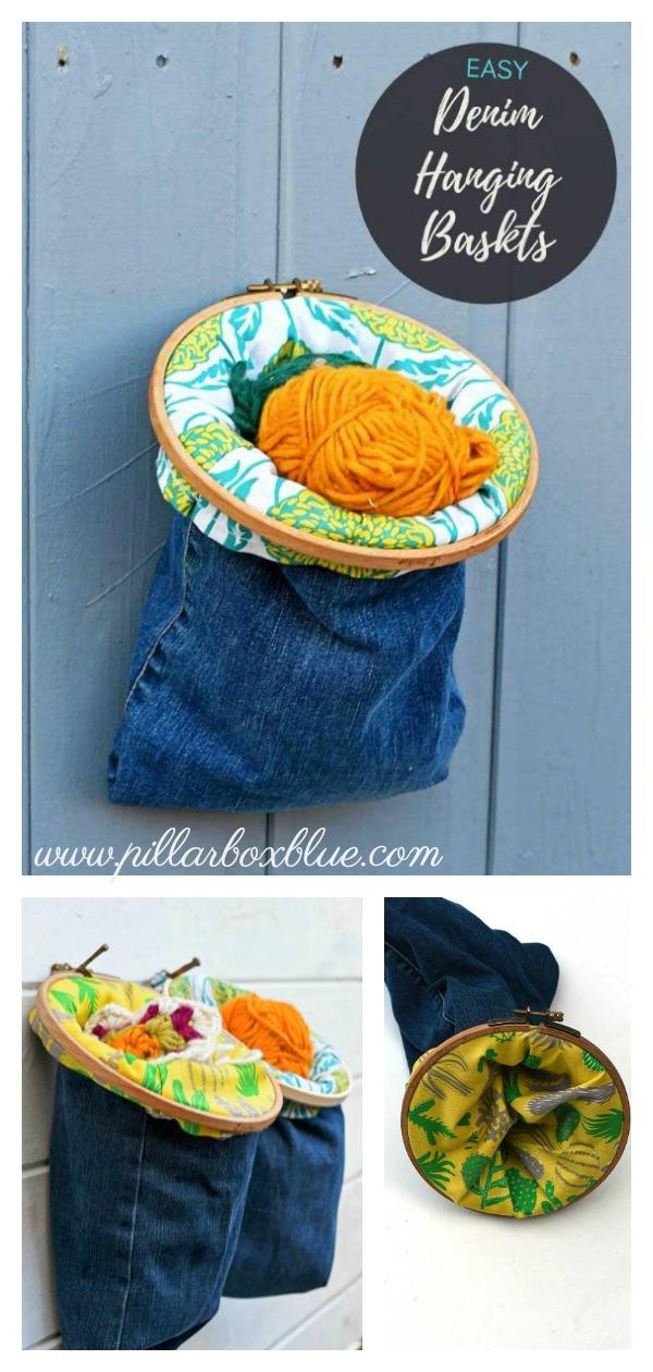Recycled Denim Hanging Basket Free Sewing Pattern