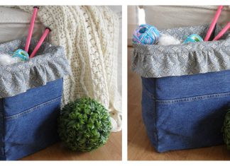Recycled Denim Project Basket Free Sewing Pattern