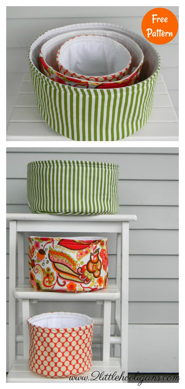 Round Nesting Storage Baskets Free Sewing Pattern