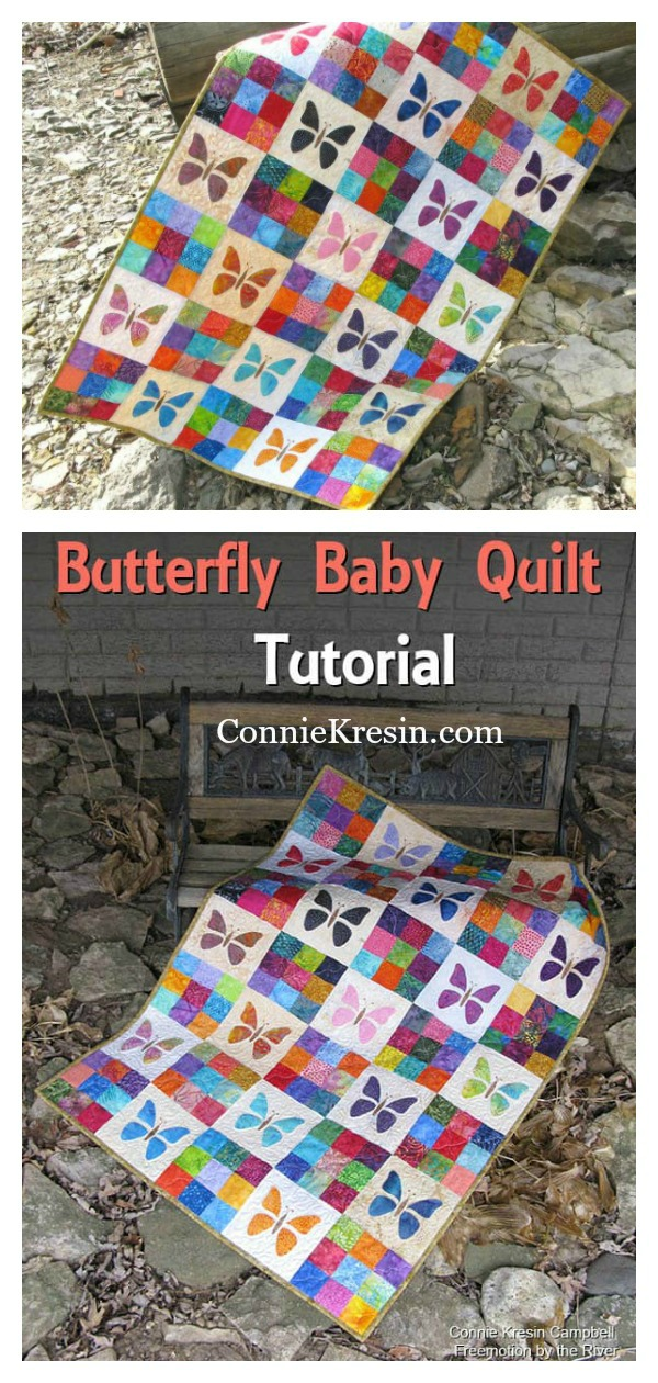 Scrappy Butterfly Baby Quilt Free Sewing Pattern
