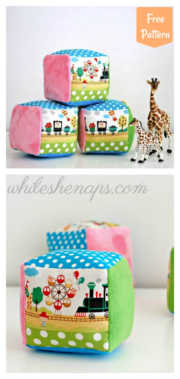 Soft Rattle Blocks for Babies Free Sewing Pattern