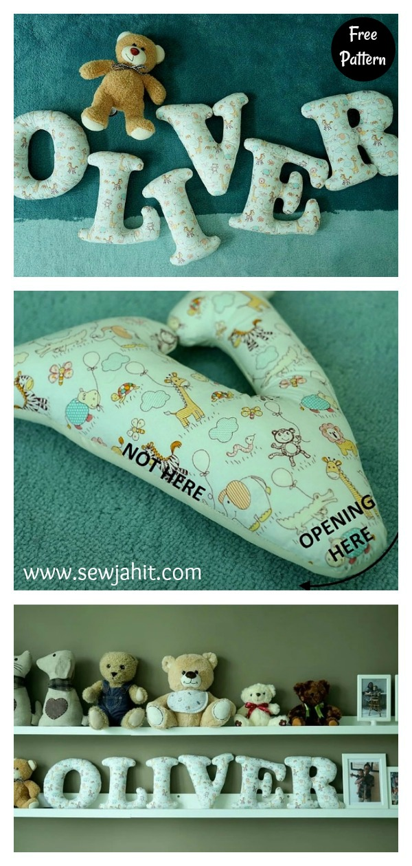 Stuffed Fabric Letters Free Sewing Pattern