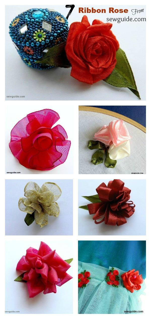 7 Ribbon Rose Flowers Free Sewing Pattern
