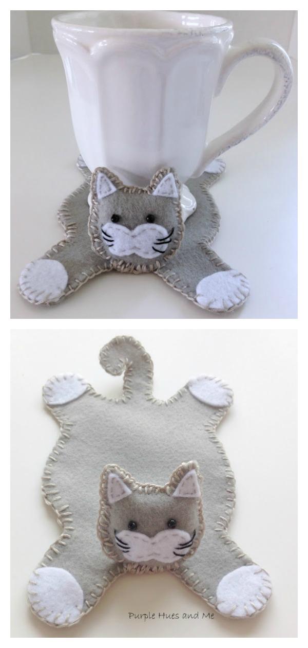 Cat Hug Mug Coaster Free Sewing Pattern and Template