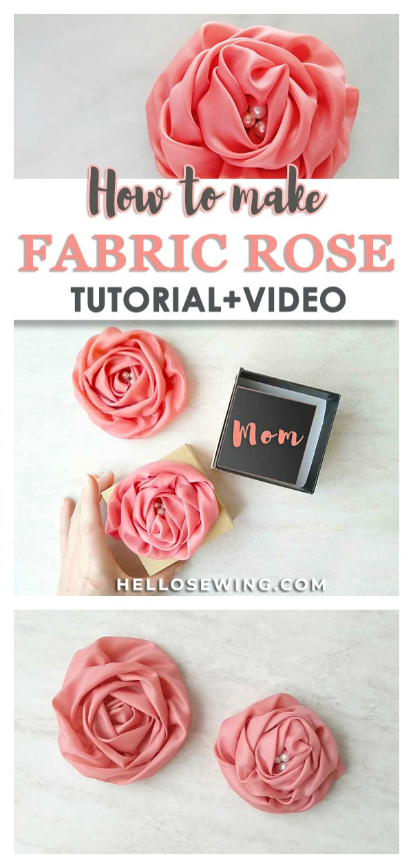 Fabric Rose Flower Free Sewing Pattern and Video Tutorial
