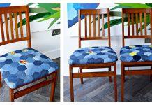 Hexagon Denim Patchwork Chair Seat Pad Free Sewing Pattern
