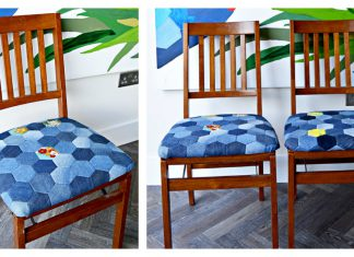 Hexagon Denim Patchwork Chair Seat Pad Free Sewing Pattern