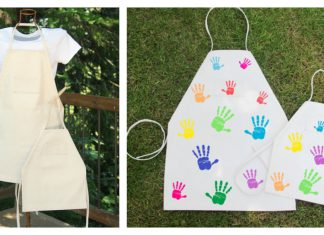 Papa and Kid BBQ Aprons Free Sewing Pattern