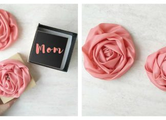 Ribbon Rose Flowers Free Sewing Pattern