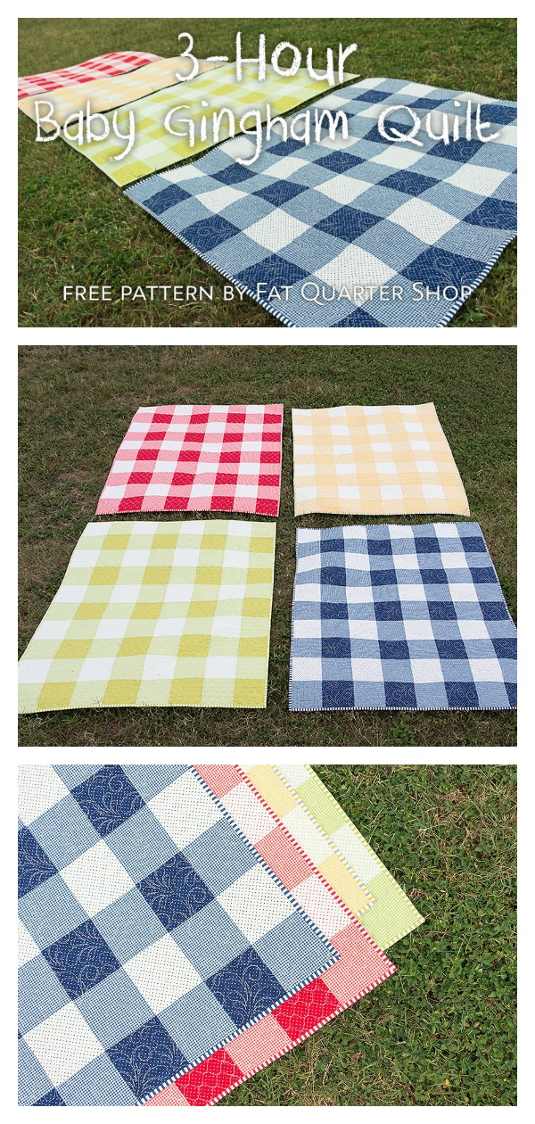 The 3-Hour Baby Gingham Quilt Free Sewing Pattern and Video Tutorial