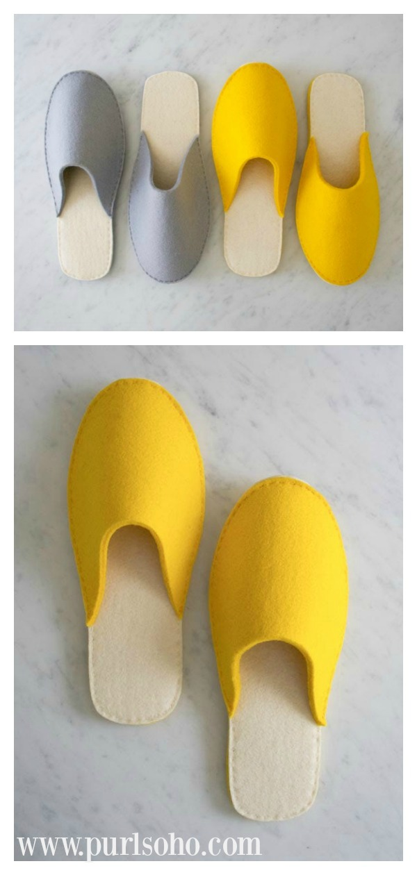 Stacked Felt Slippers Free Sewing Pattern