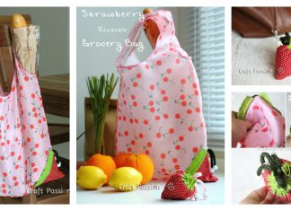 Strawberry Reusable Grocery Bag Free Sewing Pattern