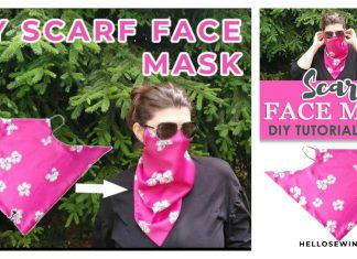 DIY Scarf Face Mask Free Sewing Pattern and Video Tutorial