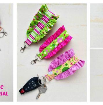 Easy Ruffled Fabric Key Fob Wristlet Free Sewing Pattern