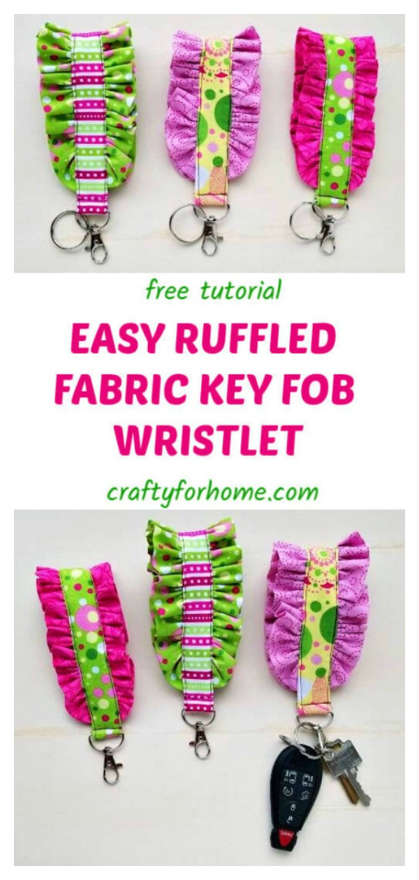 Easy Ruffled Fabric Key Fob Wristlet Free Sewing Pattern