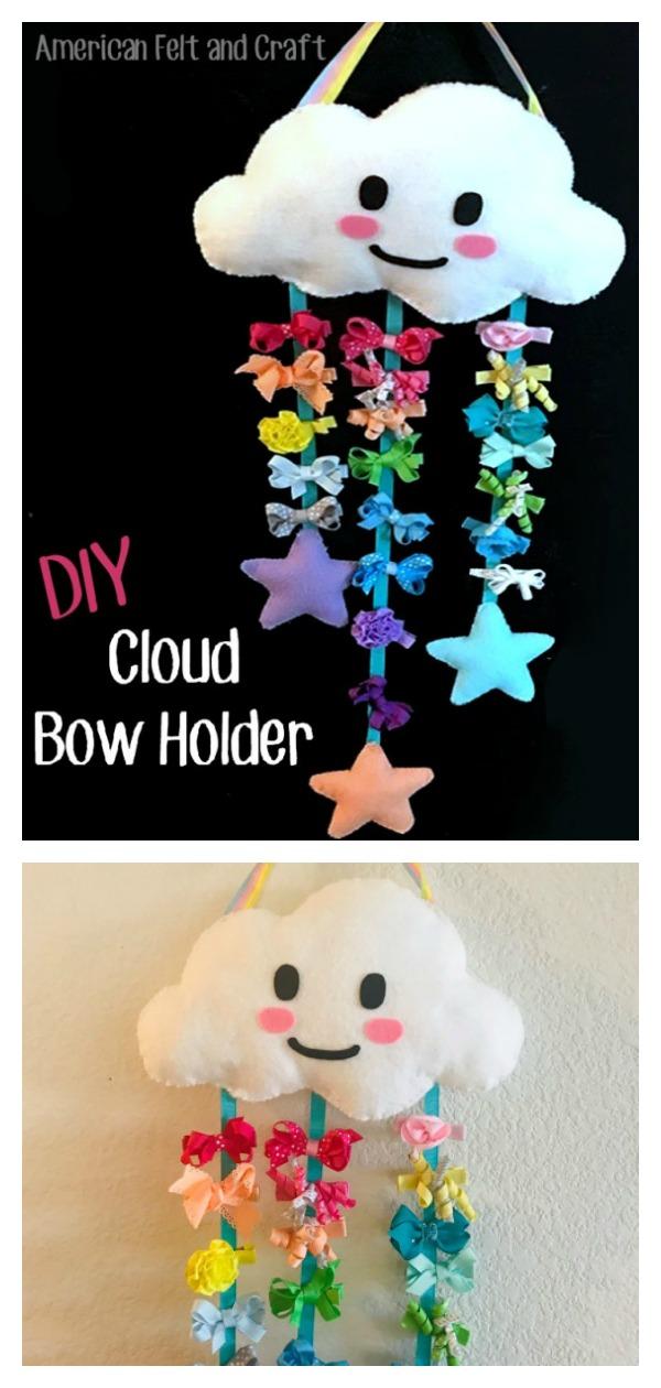 Felt Cloud Bow Holder Free Sewing Pattern