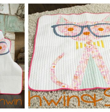 Hipster Cat Quilt Free Sewing Pattern