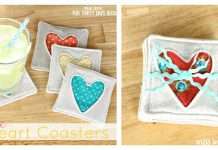 Simple Fabric Heart Coasters Free Sewing Pattern