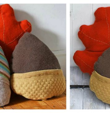 Upcycled Sweater Acorn and Oak Leaf Pillow Free Sewing Pattern