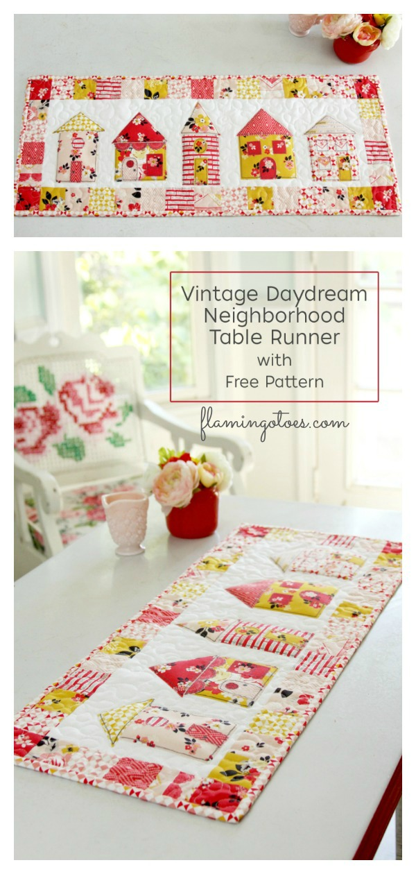 Vintage Daydream Neighborhood Table Runner Free Sewing Pattern