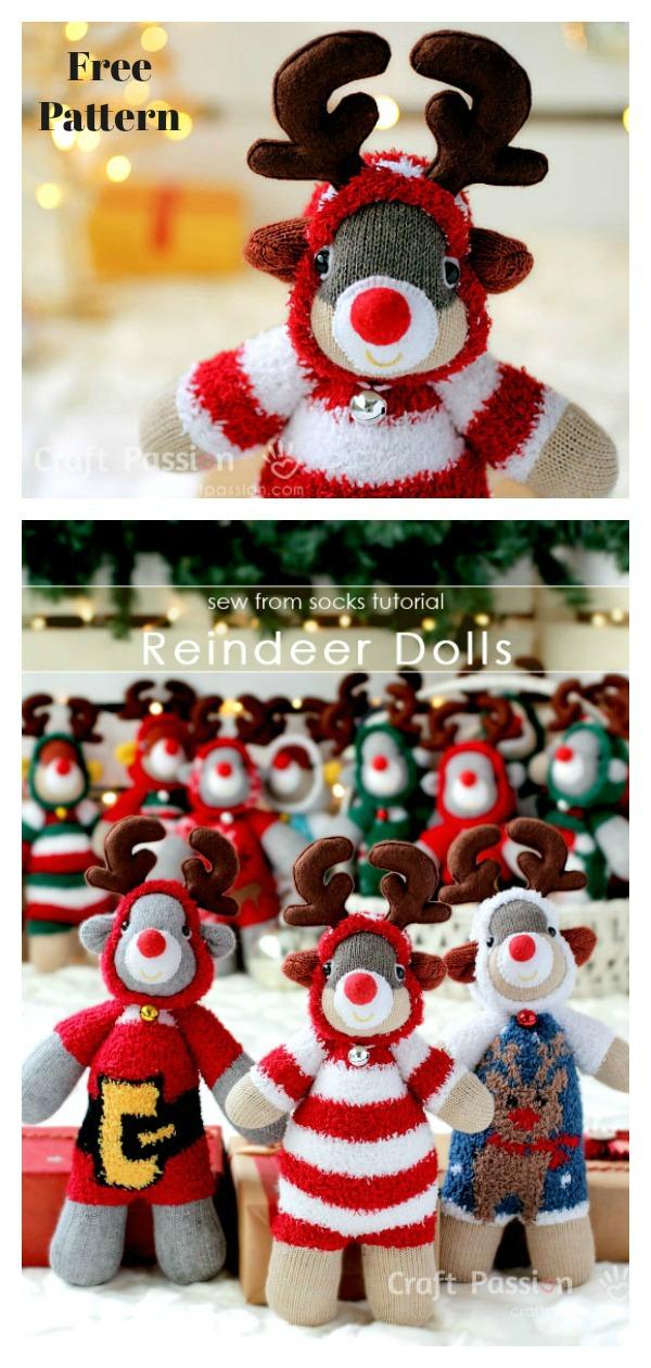 Christmas Sock Reindeer Free Sewing Pattern