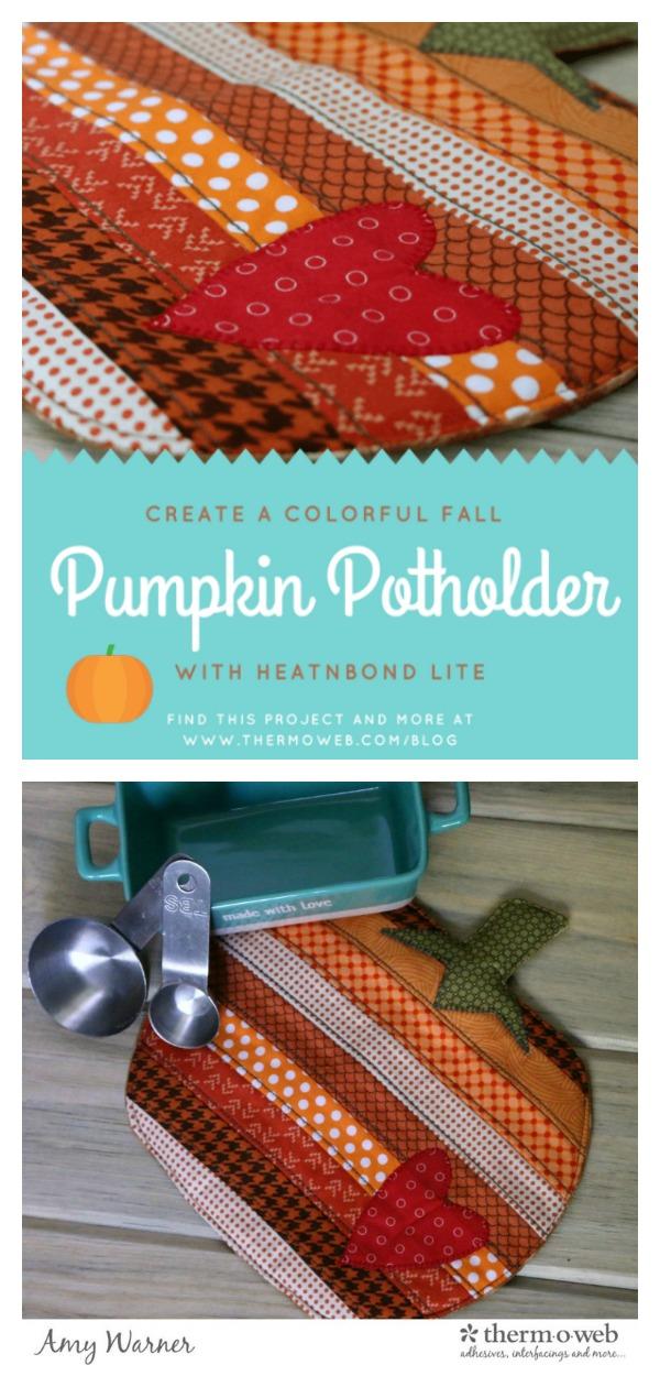 Fusible Fleece Fall Pumpkin Potholder Free Sewing Pattern