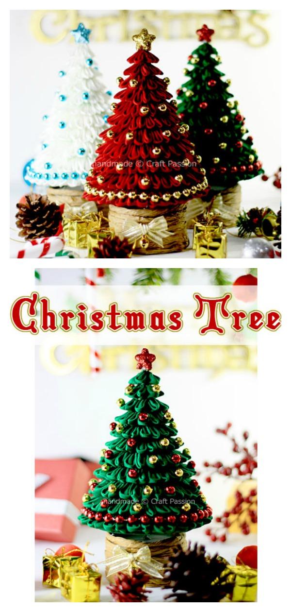 Kanzashi Christmas Tree Free Sewing Pattern