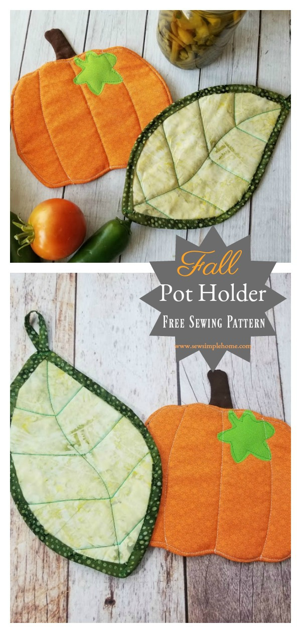 Leaf and Pumpkin Fall Pot Holder Free Sewing Pattern and Video Tutorial