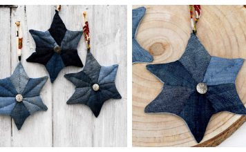 Upcycled Patchwork Denim Quilted Star Christmas Ornament Free Sewing Pattern