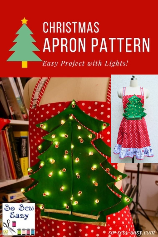 Christmas Apron Pattern with Lights Free Sewing Pattern