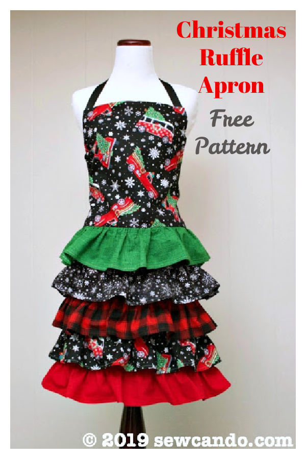 Christmas Ruffle Apron Free Sewing Pattern