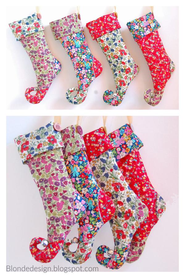 Elf Christmas Stocking Free Sewing Pattern