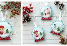 Fabric and Felt Snowglobe Ornaments Free Sewing Pattern