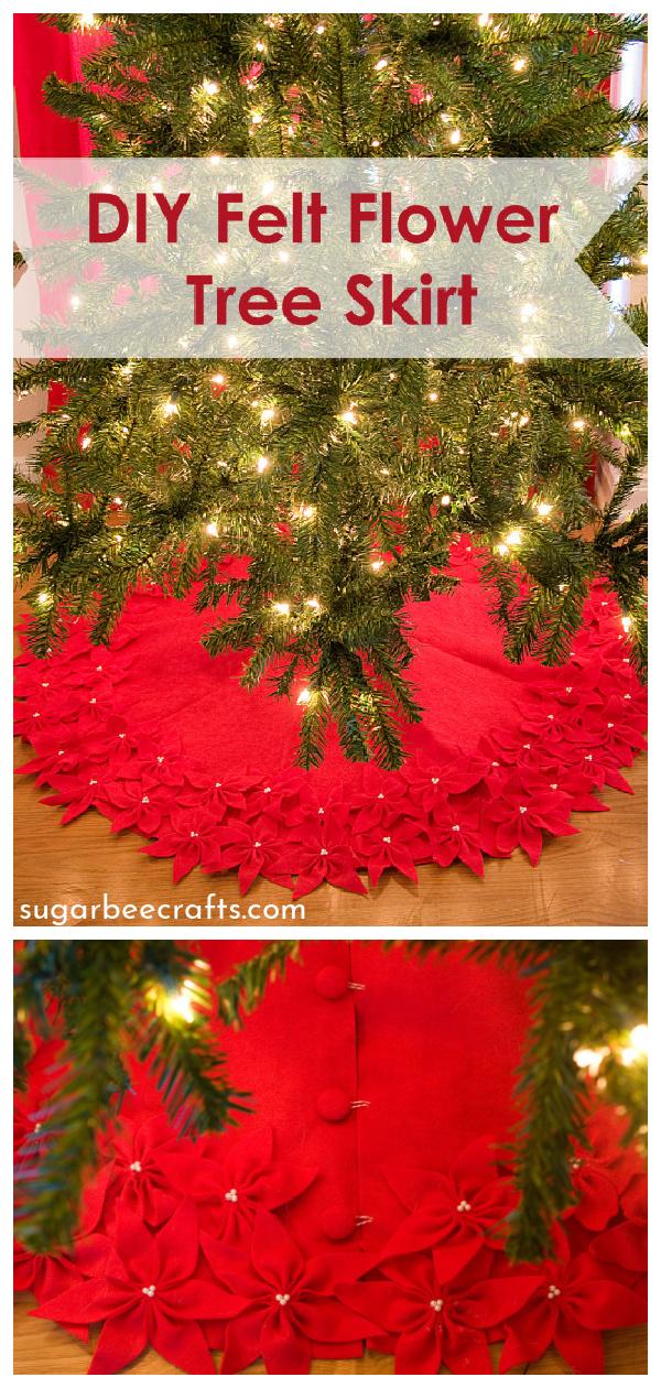 Felt Flower Christmas Tree Skirt Free Sewing Pattern