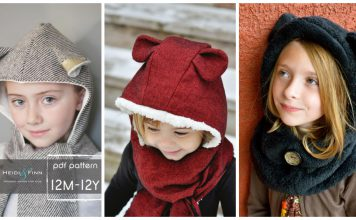Hooded Scarf with Animal Ears Sewing Patterns