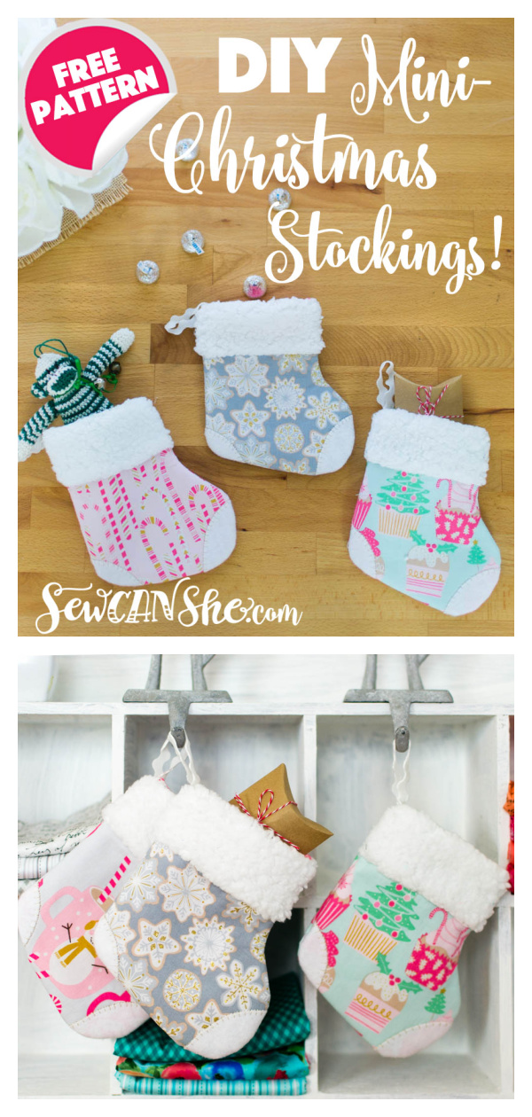 Mini Christmas Stocking Free Sewing Pattern