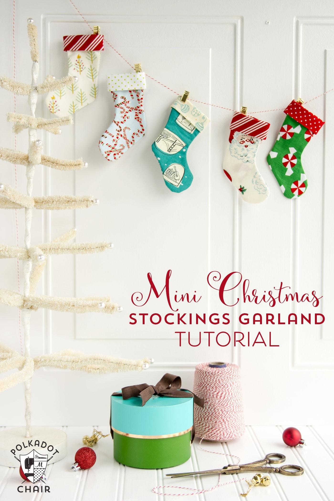 Mini Christmas Stocking Garland Free Sewing Pattern