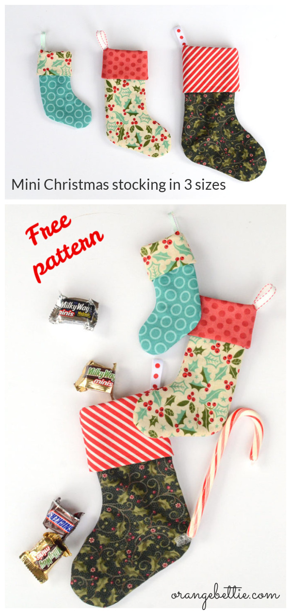 Mini Christmas Stocking in 3 Sizes Free Sewing Pattern