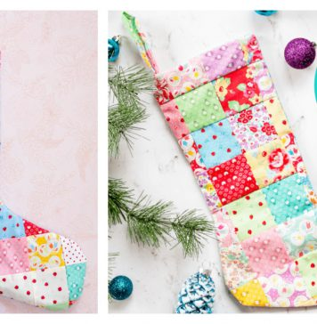 Patchwork Quilt Christmas Stocking Free Sewing Pattern