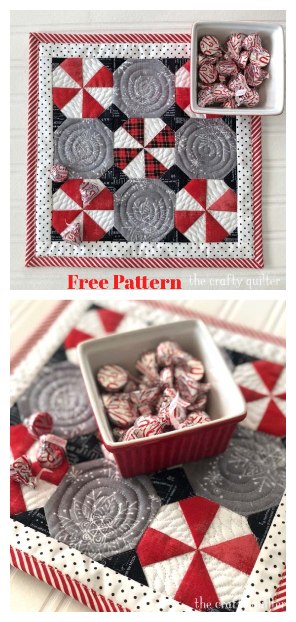 Peppermint Snowball Candy Mat Free Sewing Pattern