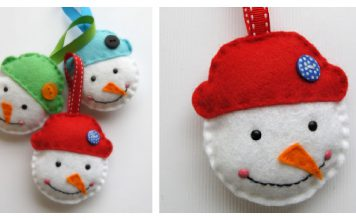 Simple Snowman Ornament Free Sewing Pattern