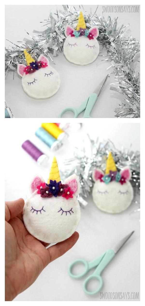 Unicorn Ornaments Free Sewing Pattern