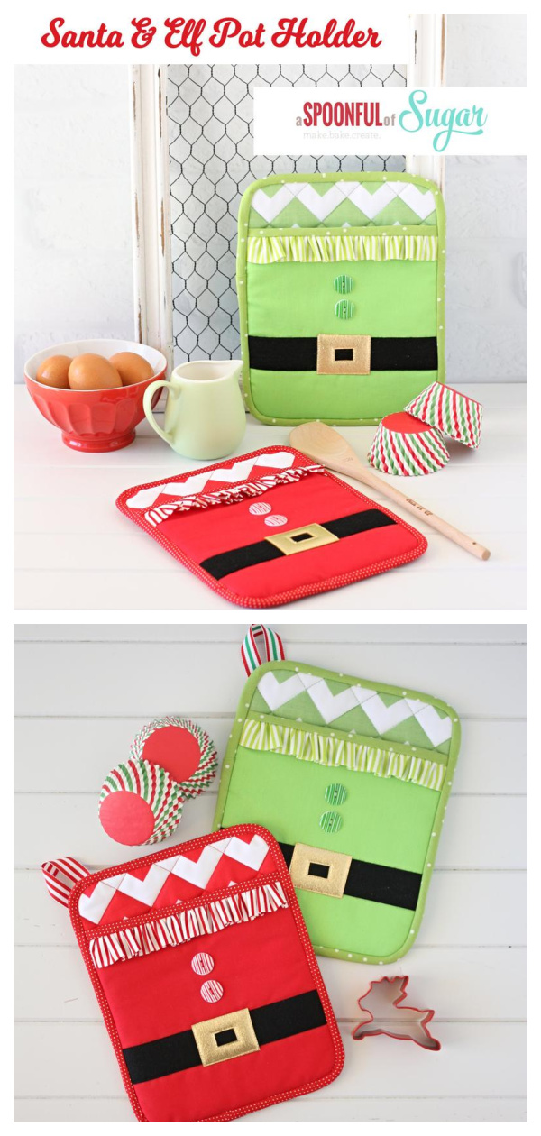 Santa & Elf Pot Holder Sewing Pattern