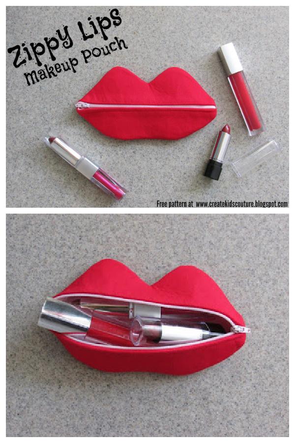 Zippy Lips Makeup Pouch Free Sewing Pattern