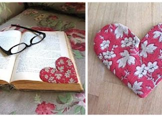 Fabric Heart Bookmark Free Sewing Pattern