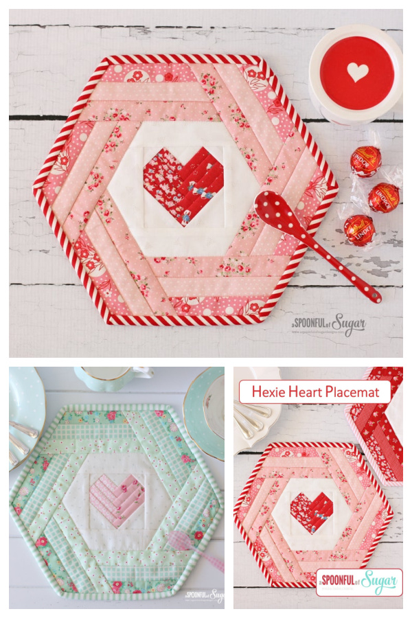 Hexie Heart Placemat Sewing Pattern