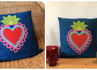 Mexican Sacred Heart Cushion Free Sewing Pattern