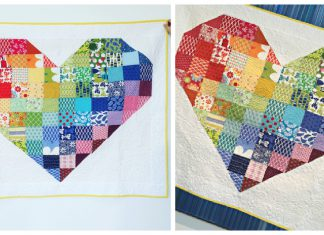 Rainbow Heart Quilt Free Sewing Pattern