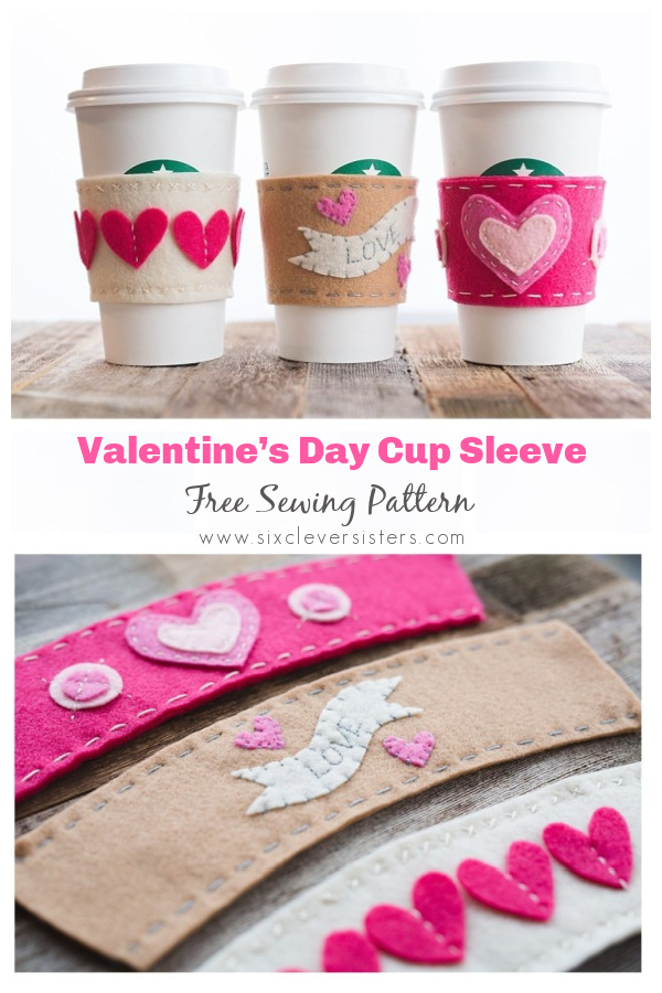 Valentine's Day Cup Sleeve Free Sewing Patterns